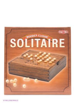Настольная игра Солитер Tactic Games. Цвет: коричневый