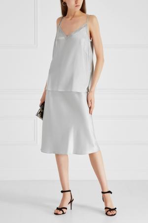 Шелковая юбка Ruban. Цвет: серый