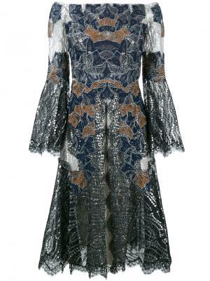 Кружевное платье с открытыми плечами Jonathan Simkhai. Цвет: чёрный