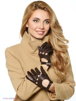 Перчатки Karma. Цвет: темно-коричневый