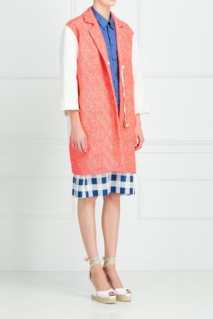 Пальто c вышивкой Roland Mouret. Цвет: розовый