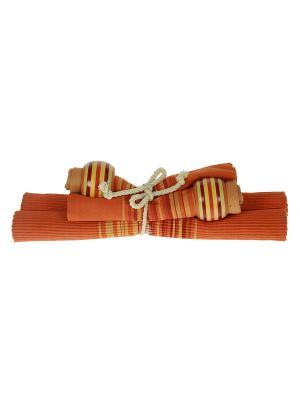 Набор салфеток для сервировки стола на 2 персоны Русские подарки. Цвет: оранжевый
