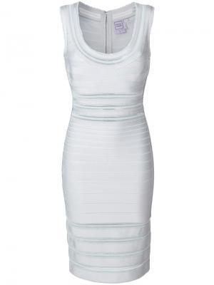 Приталенное платье Hervé Léger. Цвет: синий