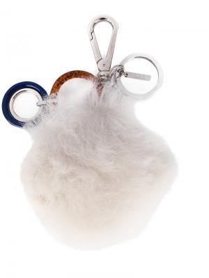 Брелок для ключей с меховой деталью Marni. Цвет: белый