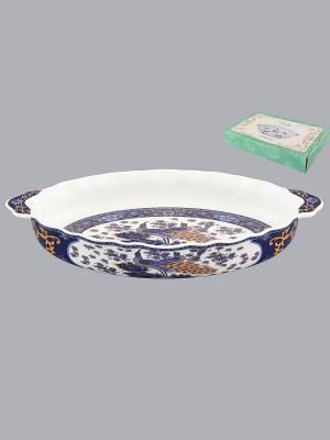Блюдо Павлин синий Elan Gallery. Цвет: синий, белый