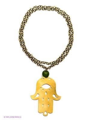 Ожерелье PS by Polina Selezneva. Цвет: зеленый, золотистый