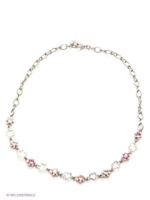 Цепочка Розовые цветы CHARM IT. Цвет: серебристый, розовый