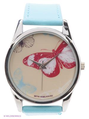 Часы Цветные бабочки Mitya Veselkov. Цвет: голубой
