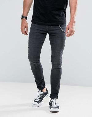 Hoxton Denim Черные выбеленные супероблегающие джинсы с цепочкой. Цвет: черный