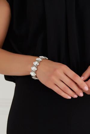 Браслет из латуни с кристаллами Philippe Audibert. Цвет: серебряный