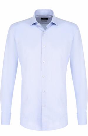 Хлопковая сорочка с воротником кент BOSS. Цвет: голубой