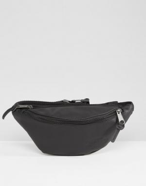 Eastpak Черная кожаная сумка-кошелек на пояс. Цвет: черный