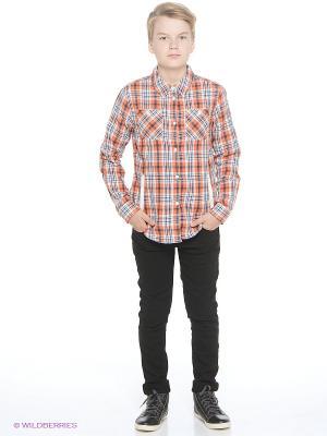 Рубашка Oodji. Цвет: темно-синий, оранжевый