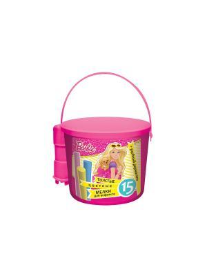 Мелки для асфальта в ведре с держателем 15 штук Barbie Disney. Цвет: розовый
