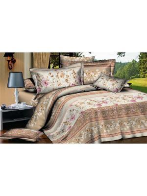 Комплект постельного белья евро, поплин BegAl. Цвет: бежевый