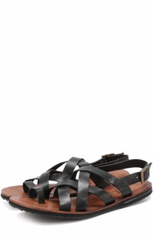 Кожаные сандалии на плоской подошве Uit. Цвет: черный
