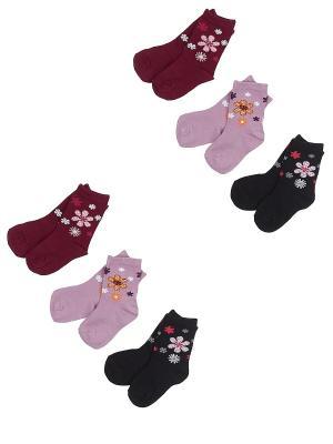 Носки детские, комплект 6 шт DAG. Цвет: черный, бордовый, сиреневый