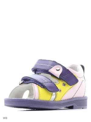 Сандалии ортопедические ORTHOBOOM. Цвет: фиолетовый, желтый, розовый
