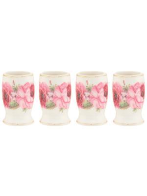 Набор из 4-х вазочек под зубочистки Розовые розы Elan Gallery. Цвет: розовый, белый