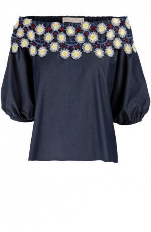 Топ свободного кроя с открытыми плечами и контрастной цветочной отделкой Peter Pilotto. Цвет: синий