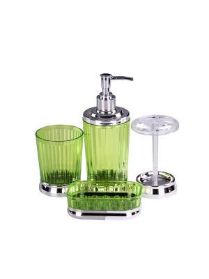 Набор для ванны 4 предмета: дозатор, подставка под зубные щетки, стакан, мыльница PATRICIA. Цвет: зеленый