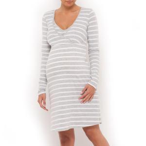 Рубашка ночная для беременных и кормящих La Redoute Collections. Цвет: серый/белый в полоску