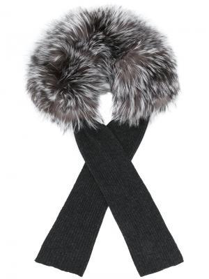 Appliqué ribbed scarf Yves Salomon Accessories. Цвет: серый