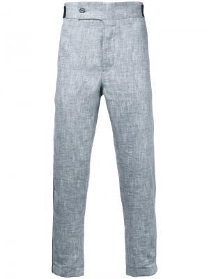 Укороченные брюки с контрастной окантовкой Ann Demeulemeester. Цвет: белый