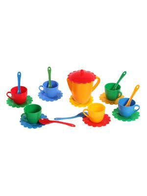Набор посуды Ромашка на 6 персон  с чайником ЛЮКС ТИГРЕС. Цвет: желтый, синий, зеленый, красный