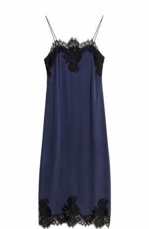 Приталенное платье-комбинация с кружевной отделкой Alice + Olivia. Цвет: темно-синий