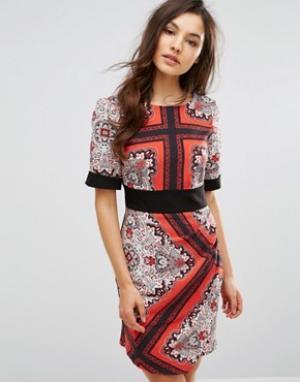 Closet London Платье с запахом спереди и поясом оби. Цвет: мульти