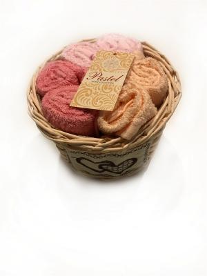 Набор салфеток 6 предметов 30х30 в корзинке Exclusive. La Pastel. Цвет: бледно-розовый,розовый,персиковый