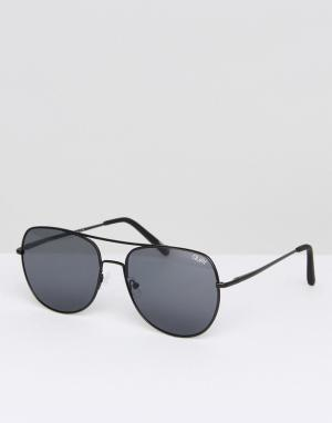 Quay Australia Черные солнцезащитные очки-авиаторы. Цвет: черный
