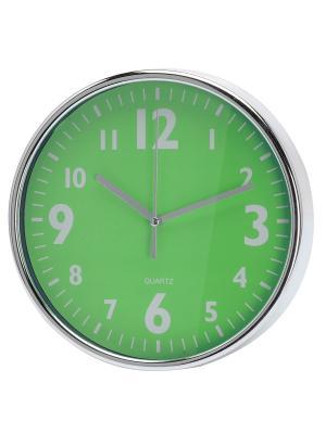 Часы настенные Серебристые цифры на зеленом (20 см) NAST233 Mitya Veselkov. Цвет: зеленый