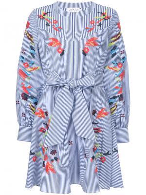 Платье в полоску с вышивкой Caro Tanya Taylor. Цвет: синий