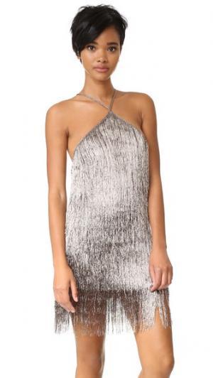 Металлизированное платье с бахромой Rachel Zoe. Цвет: медный