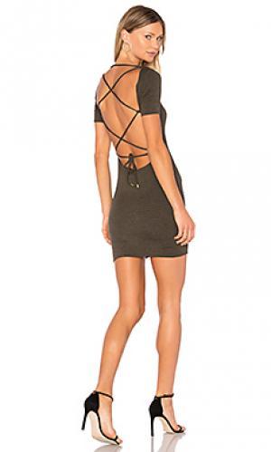Платье с открытой спиной penny Riller & Fount. Цвет: оливковый