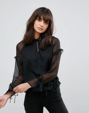 Pieces Полупрозрачная блузка с завязками на рукавах. Цвет: черный
