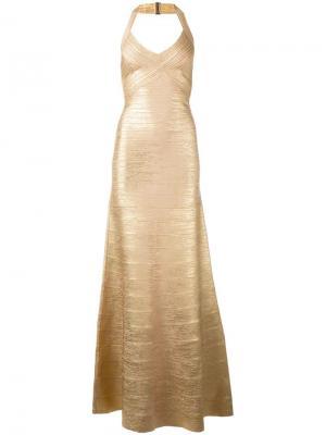 Вечернее платье с тиснением Hervé Léger. Цвет: телесный