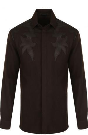 Шерстяная рубашка с кожаной отделкой Haider Ackermann. Цвет: темно-коричневый