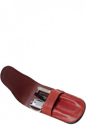 Светло-коричневый маникюрный набор из 4ех. предметов в кожаном чехле Truefitt&Hill. Цвет: бесцветный