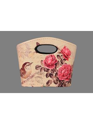 Сумочка интерьерная для хранения Птичка с розами EL CASA. Цвет: бежевый, розовый, коричневый
