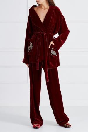 Бархатные брюки на резинке Alena Akhmadullina. Цвет: красный