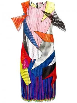 Платье с геометрическими панелями Christopher Kane. Цвет: многоцветный