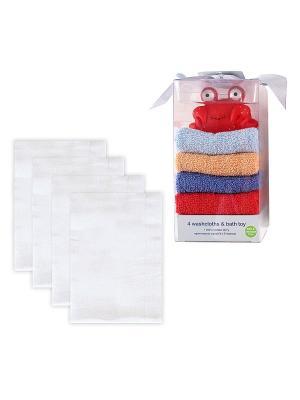 Комплект Многоразовые подгузники, 4шт + Подарочный набор Игрушка и 4 салфетки для купания, 5 пр., Luvable Friends. Цвет: голубой, белый