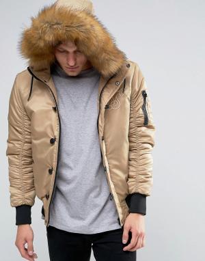 SikSilk Куртка-пилот с меховым капюшоном. Цвет: stone