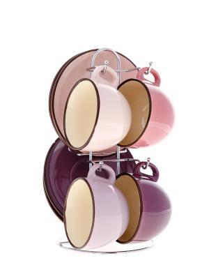Чайный набор на 4 персоны Elff Ceramics. Цвет: сиреневый, бледно-розовый, розовый, бордовый