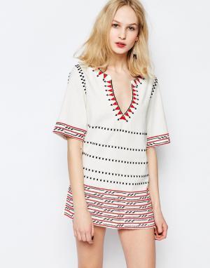 Piper Платье-туника с вышивкой Butuan. Цвет: белый