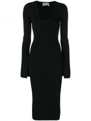 Облегающее платье с V-образным вырезом Solace. Цвет: чёрный