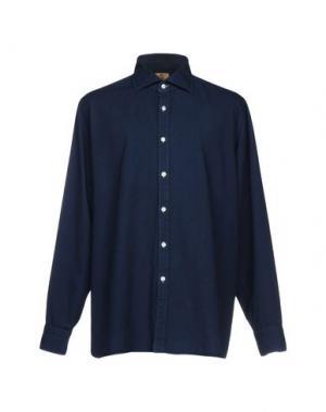 Джинсовая рубашка LUIGI BORRELLI NAPOLI. Цвет: темно-синий